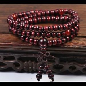 Wooden prayer beads bracelet wrap boho